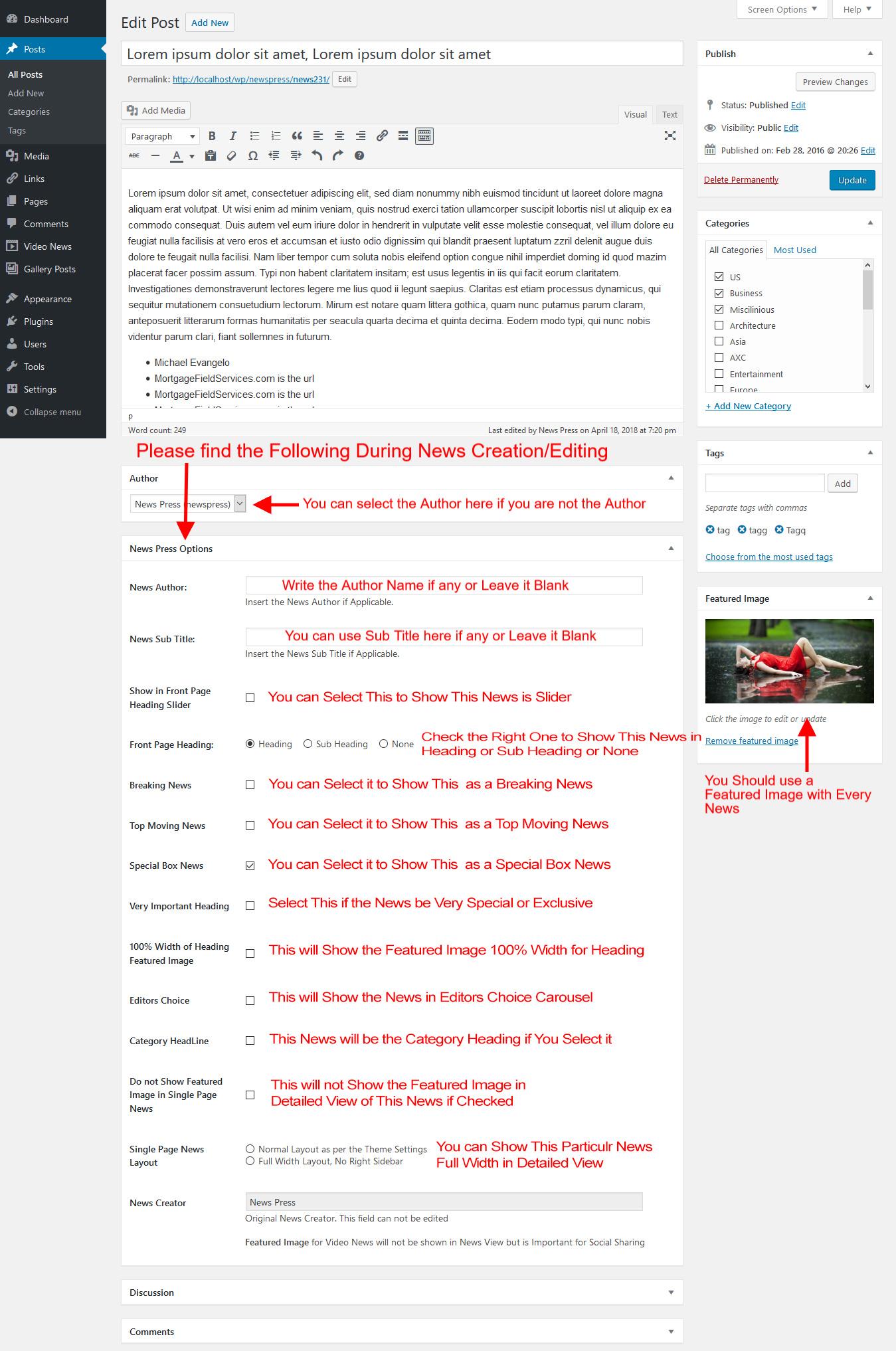 NewsPress Post/News Options