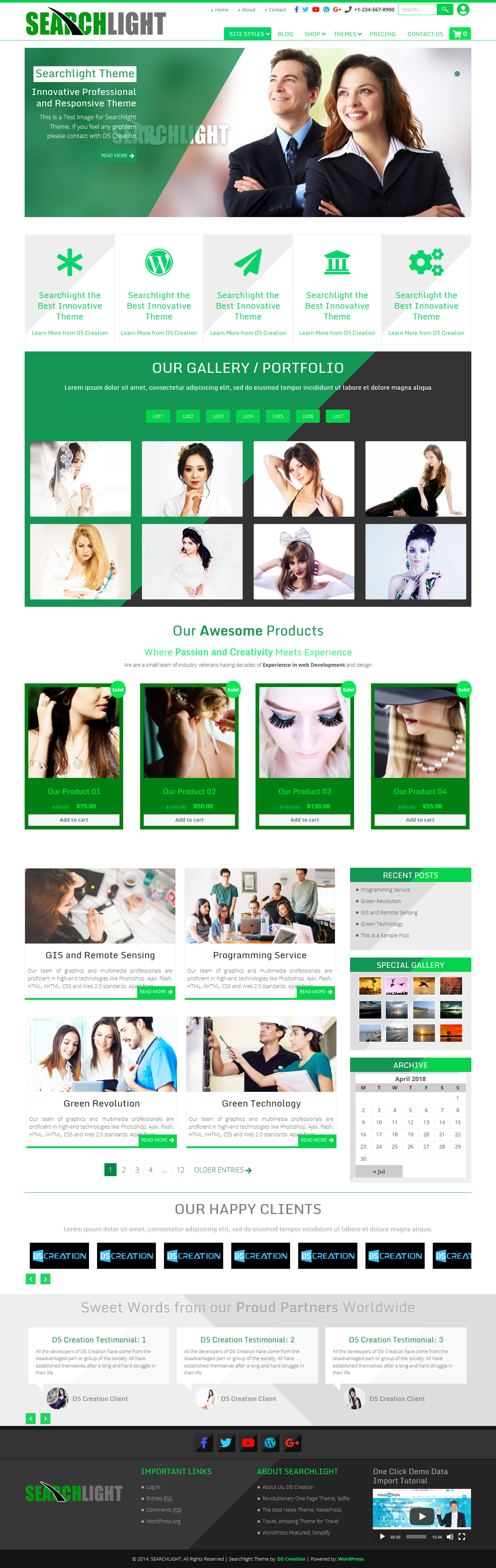 searchlight wordpress themes by d5creation.com