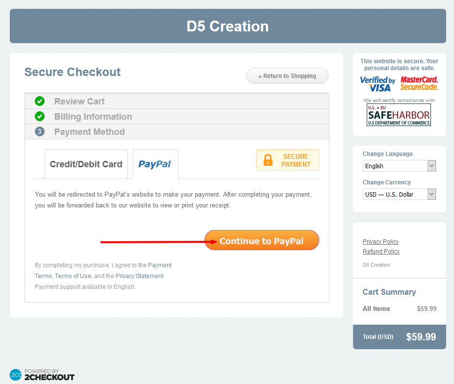 PayPal Payment D5 Creation