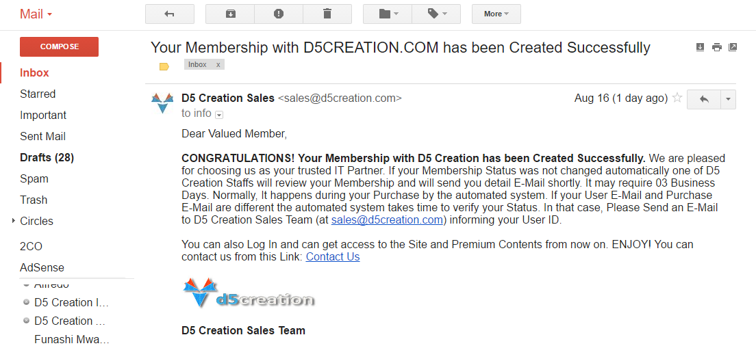 Membership Confirmation