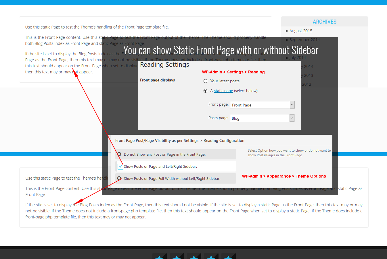 Static Front Page with or without Sidebar WordPress