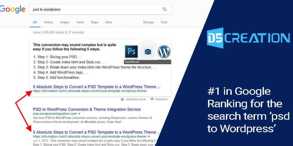D5 Creation: #1 in Google Ranking for the Search Term \'PSD to ...