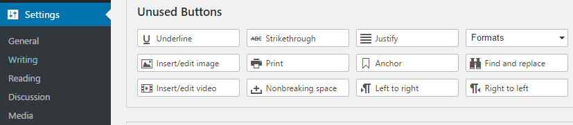 WordPress Editor Unused Buttons