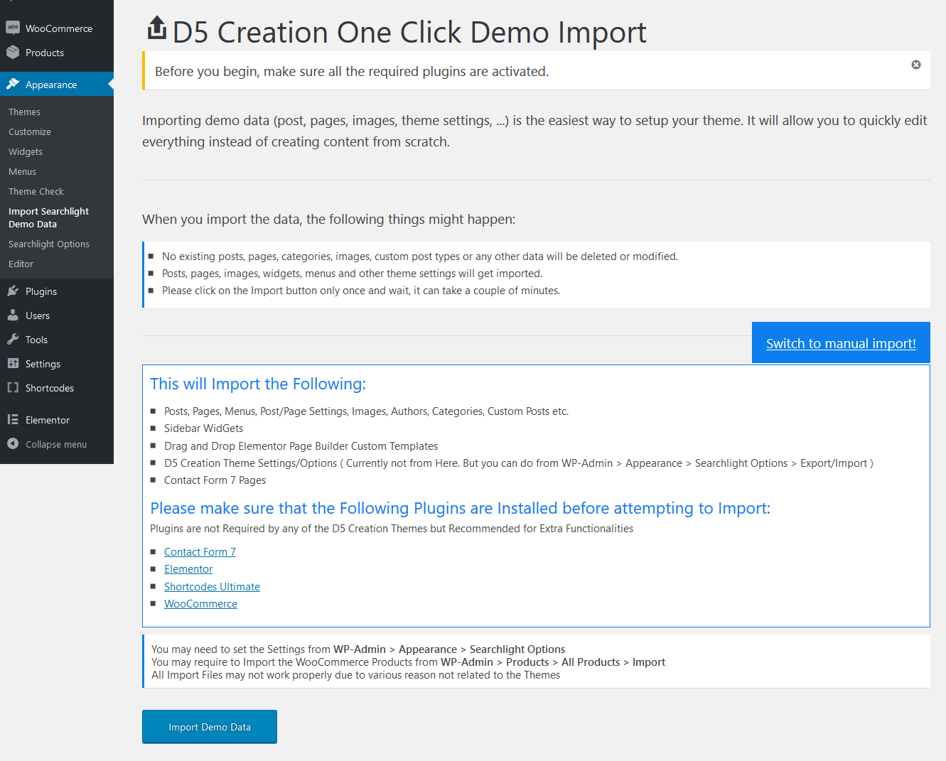 Click Demo Import