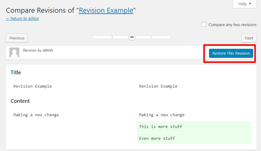 Restore a Revision