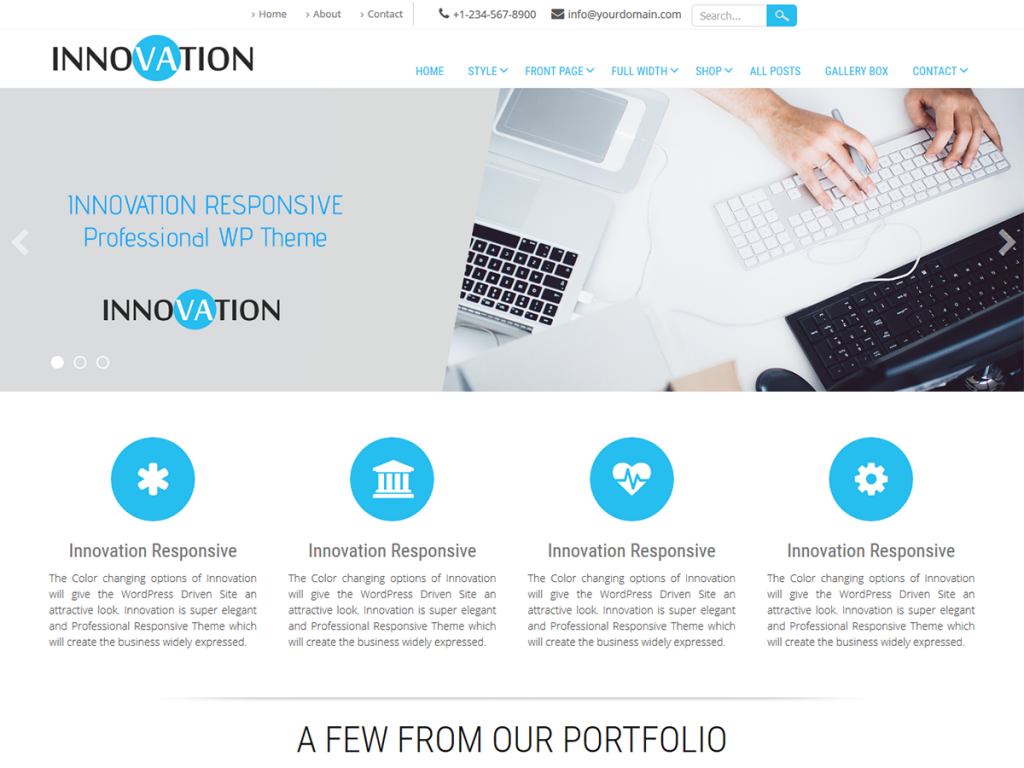 innovation theme - design startup website